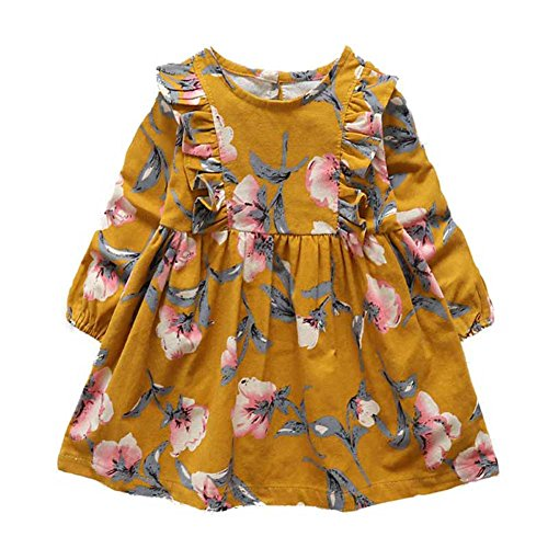 Bestime Fall Girl's Dress Cotton Long Sleeve Floral Printed Ruffles Children Dress (5 years, (Girls Dress Yellow)