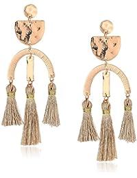 Womens Rose Gold Tassel Earrings, Rose, One Size