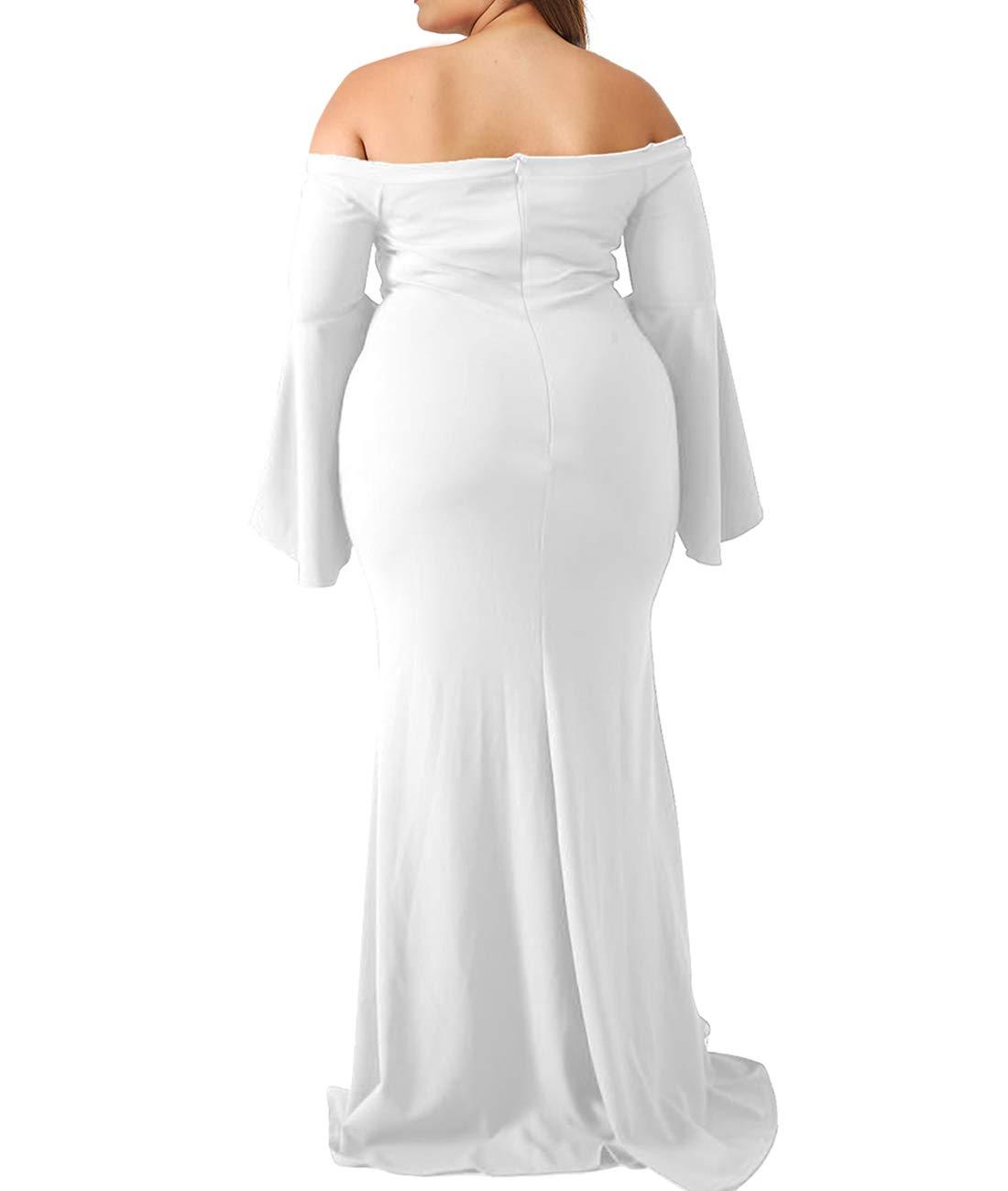 276ab5d142e ... Plus/Innerger Women Plus Size Off Shoulder Bodycon Party Dress Evening  Formal Gown White XXXXL. ; 