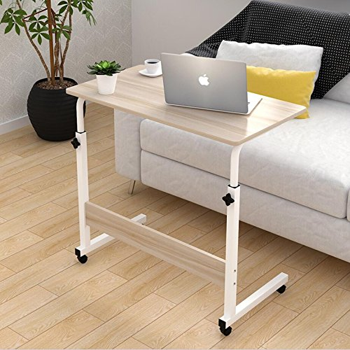 Magshion Laptop Stand Adjustable Computer Standing Desk Portable Cart Tray Side Table with wheels for Bed Sofa Hospital Reading Eating (Off-White)