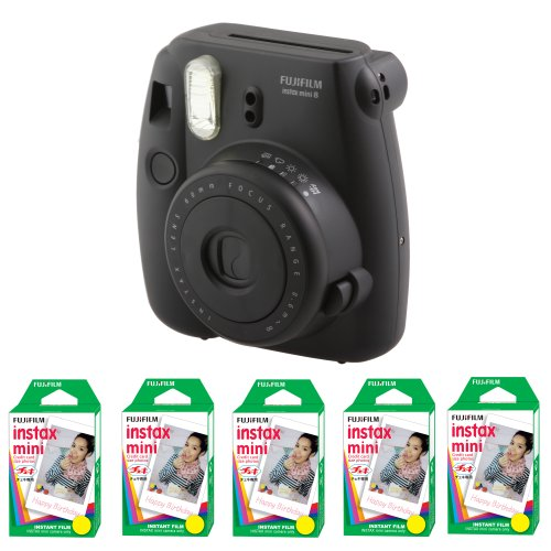 Fujifilm FU64-MIN8BKK100 INSTAX MINI 8 Camera and Film Kit with 100 Exposures (Black) by Fujifilm