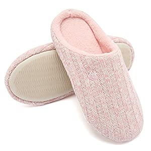 d53d97e11d5b Fanture Women s House Slippers Indoor Memory Foam Cashmere Cotton Knitted  Autumn Winter Anti-Slip
