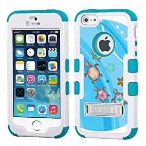 One Tough Shield ? Hybrid 3-Layer Kick-Stand Case (White/Teal) for Apple iPhone 5 5s - (Happy Turtle)
