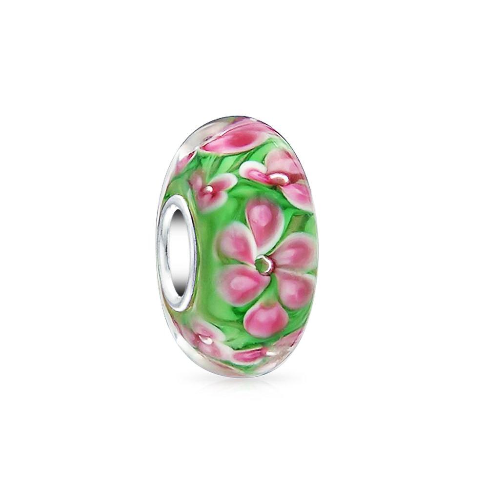 Bling Jewelry Pink Tropical Frangipani Flower Green Murano glass Lampwork Charm Bead .925 Sterling Silver PBX-HGS-142-pink-B