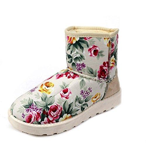 16-MXL10 VIASA Fashion Women Lace Up Fur Lined Winter Warm Snow Shoes Beige