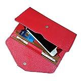 NEWANIMA Fashion Leather Women Phone Passport Holder Envelope multifunction wallet (Red)