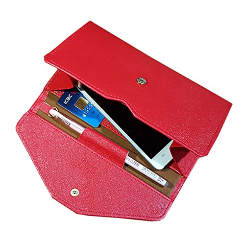 NEWANIMA Fashion Leather Women Phone Passport Holder Envelope multifunction wallet (Red) by NEWANIMA (Image #1)
