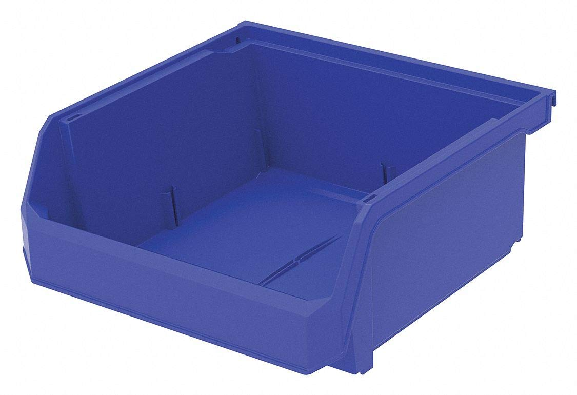 Hang and Stack Bin, Blue, 11'' Outside Length, 11'' Outside Width, 5'' Outside Height pack of 5