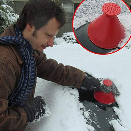 Buyeverything Scrape A Round Magic Ice Scraper for Car Ice Remover Cone Rubber Auto Windshield Glass Snow Shovel Tool Windscreen Scraper Also for Home Window – Ship from USA (Red)