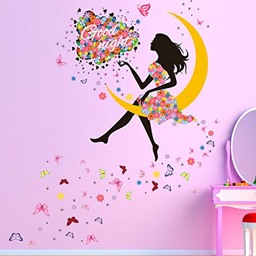 39 x 55 Inch Good Night Moon Fairy DIY Wall Sticker Decor Princess Girl Art Wall Decals For Kids Rooms Home Living Room Decoration Decorative Vinyl Poster