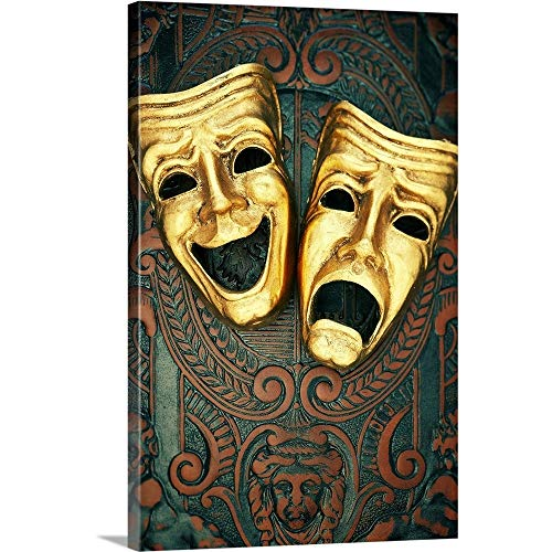 Golden Comedy and Tragedy Masks on Patterned Leather Canvas Wall Art Print, 20
