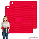 silicon pot holder set - PratiPad PLUS 4-in-1 Multipurpose Silicone Pot Holders, Trivets, Jar Openers, & Spoon Rests - Extra Thick Protection - Set of 2 - Red