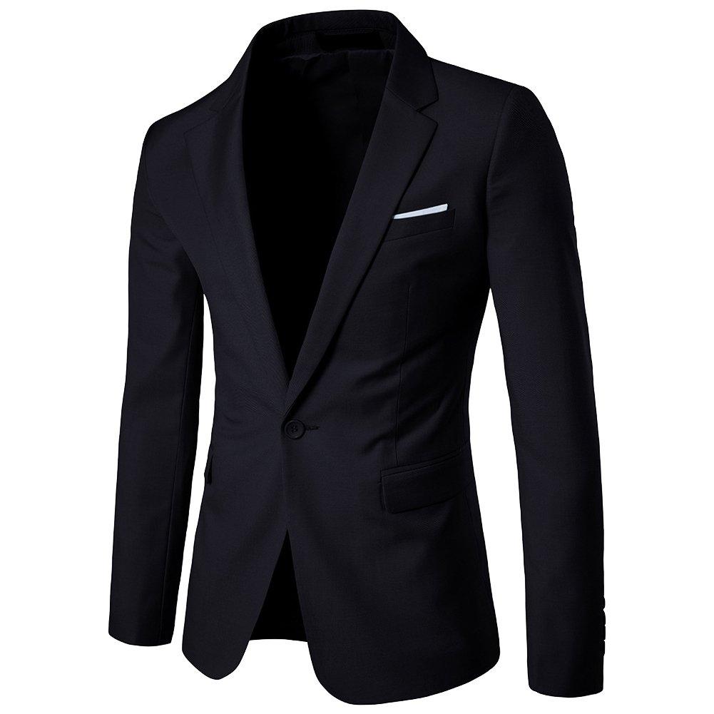 ZhuiKun Uomo Casual Slim Fit One Button Elegante Vestito di Affari Cappotto Giacca Blazer