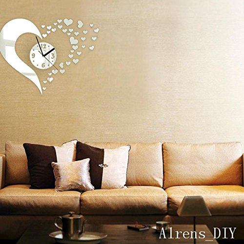 Alrens_DIY(TM)Silver Hearts Art Mordern Luxury Design DIY Removable Acrylic Silent Quartz Clock Watch 3D Crystal Mirror Surface Effective Wall Clock Wall Sticker Home Decor Art Living Room Bedroom Office Decoration by Alrens (Image #3)