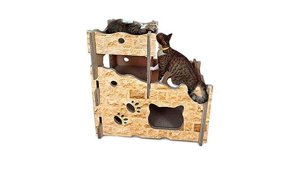 LiShihuan Castillo de Gato, rascador para Gatos, Tabla de Papel Corrugado, Marco de Escalada, Arena para Gatos: Amazon.es: Productos para mascotas