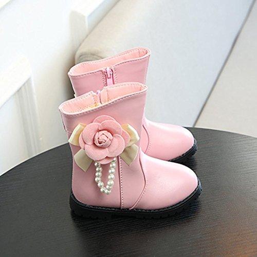TPulling Mode Junge Und Mädchen Martin Stiefel Herbst Und Winter Kinder Blumen Perlen Stiefel Lässige Schuhe Rosa
