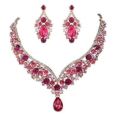 EVER FAITH Austrian Crystal Elegant V-Shaped Teardrop Necklace Earrings Set