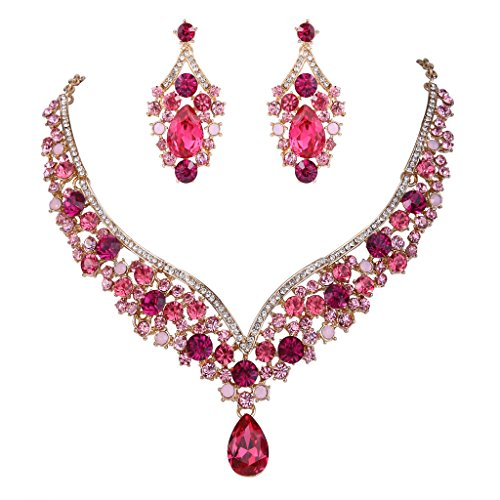 EVER FAITH Austrian Crystal Elegant V-Shaped Teardrop Necklace Earrings Set Pink -