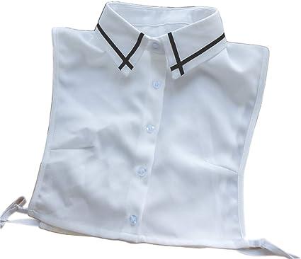 Gwxevce Black Cross Stripes Solapa Media Camisa Desmontable ...