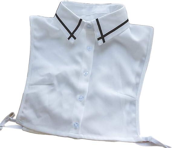 Gwxevce Black Cross Stripes Solapa Media Camisa Desmontable para Mujer con Cuello Falso Falso: Amazon.es: Hogar