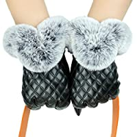 D.King Womens Leather Gloves Touch Screen Gloves Lining Driving Mittens