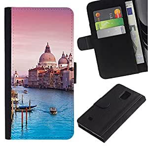 UberTech / Samsung Galaxy Note 4 SM-N910 / Blue Architecture Venice Cathedral / Cuero PU Delgado caso Billetera cubierta Shell Armor Funda Case Cover Wallet Credit Card