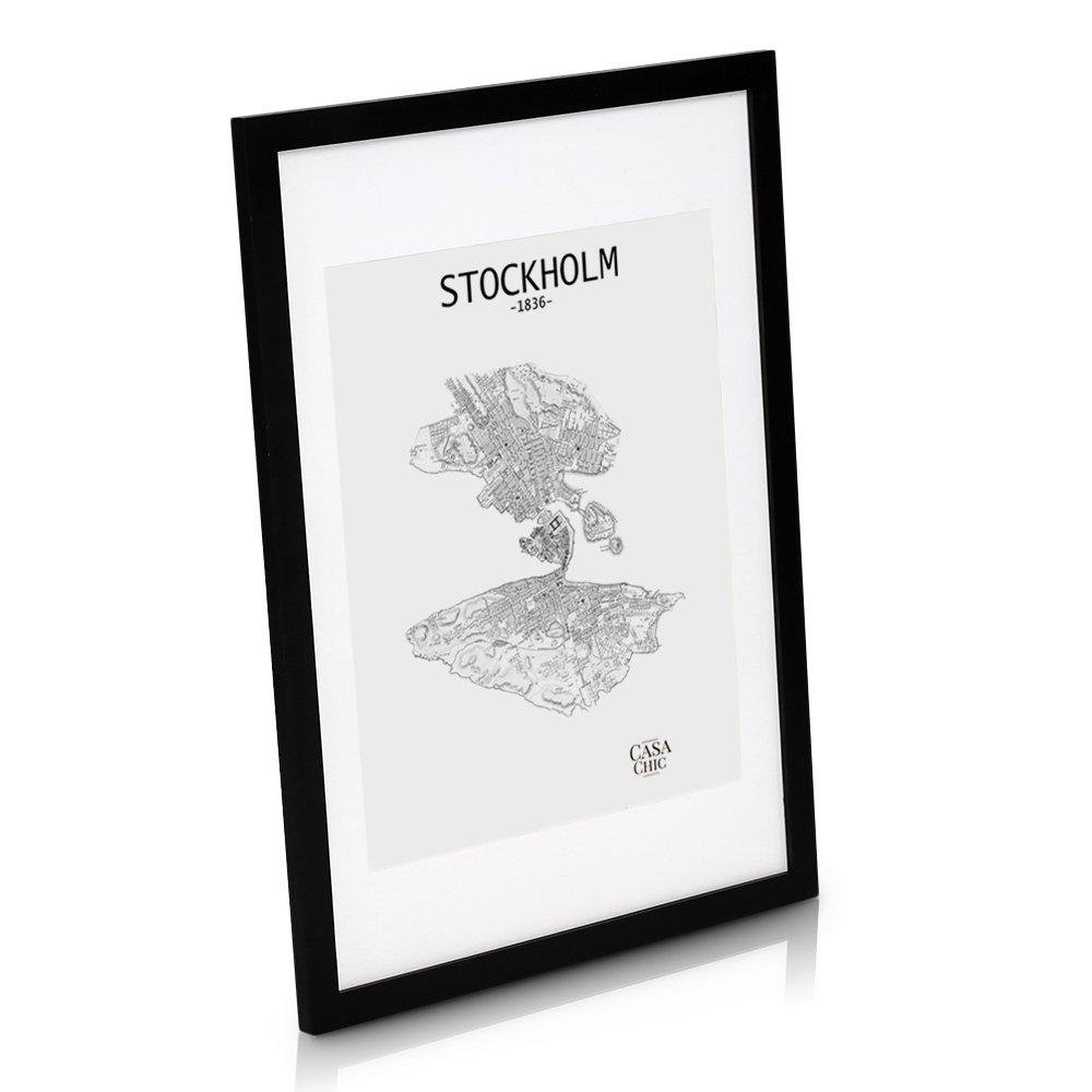 Grand Cadre Photo en Bois MASSIF de 50 x 70 cm pour affiche ou poster - Passe-partout pour affiche de 40 x 50 cm inclus - Vitre en PLEXIGLAS - Système d'accroche inclus - Profil de Cadre 3 cm - Noir product image