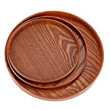 KathShop 24/27/33cm Natural Wood Serving Tray Wooden Plate Tea Food Server Dishes Water Drink Platter Storage Tary