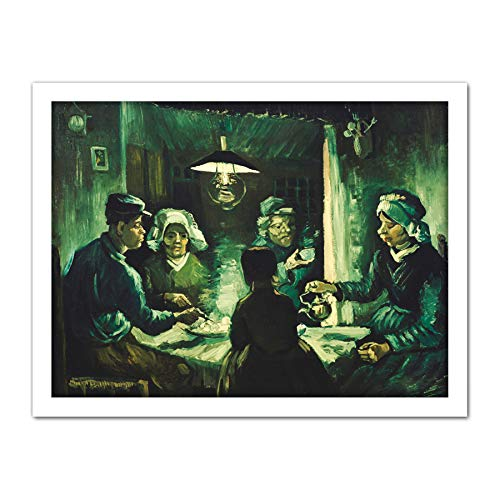 Van Potato The Vincent Eaters Gogh (Vincent Van Gogh The Potato Eaters Large Framed Art Print Poster Wall Decor 18x24)