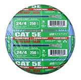 Cat5e Bulk Cable 250ft Pure Copper, Plenum Rated, Solid, 350Mhz, 24AWG, UTP, CMP, Blue by Syston Cable