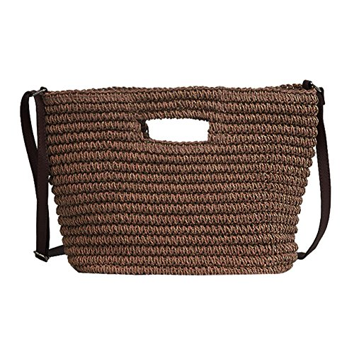 Tote verano Hombro Women Broadroot Café Messenger Weave cubo Beach Bags viaje de bolsos Straw de Straw 855xqRw6g