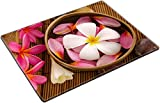 MSD Place Mat Non-Slip Natural Rubber Desk Pads Design 20231386 Health Spa Retreat Setting Low with Ambient Frangipani hot and Cold Stone on Bamboo mat