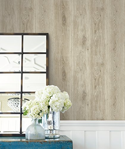 Realistic Faux Wooden Planks Wallpaper (Brown & Grey)