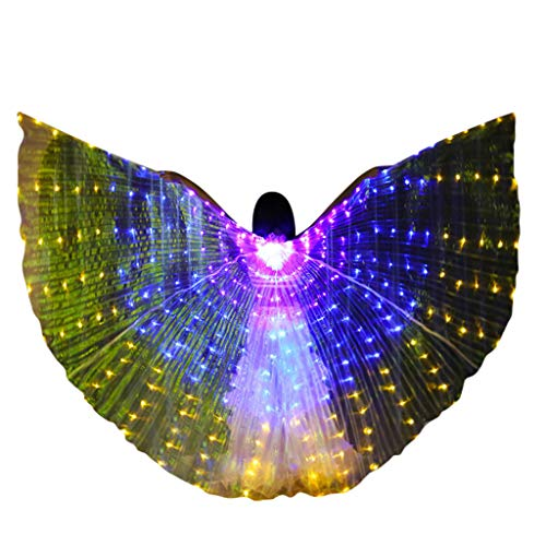 MEANIT Led Light Wings Color Butterfly Wings Luminous with Telescopic Stick for Clothing Performance Belly Dance Show -