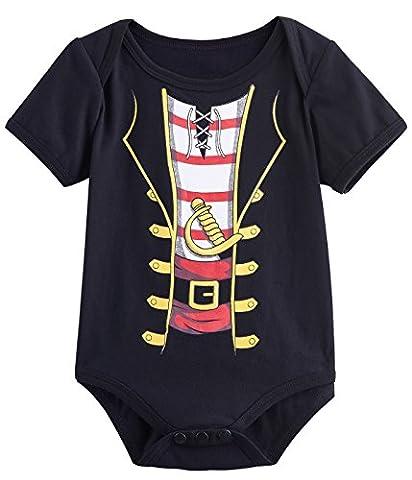 Mombebe Baby Boys' Pirate Costume Bodysuit (3-6 Months, Black-)