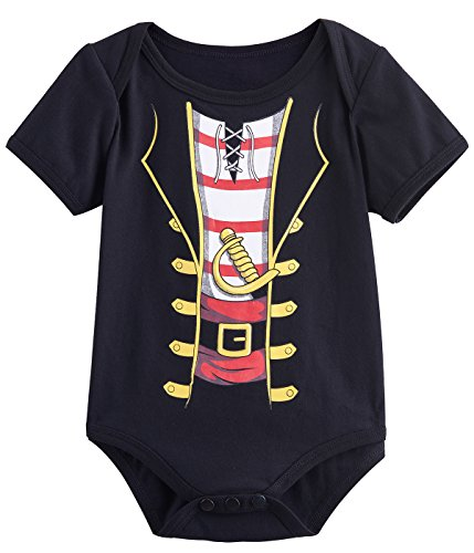 - Mombebe Baby Boys' Pirate Bodysuit (6-12 Months, Black-)