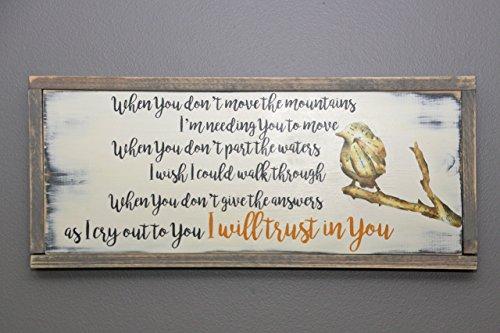 Trust in You lyrics handmade wooden sign