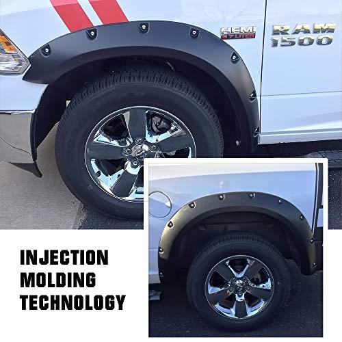 APS Injection Moulding Pocket Rivet Style Impact-Resistance Polypropylene Fender Flares Custom Fit 2009-2018 Dodge Ram 1500 (Excl. R/T & Rebel Models) & 2019 1500 Classic