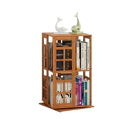 Madera Kele BbookshelfGabinete Sólida Suelo Bambú Estante Rotativo b7yfg6