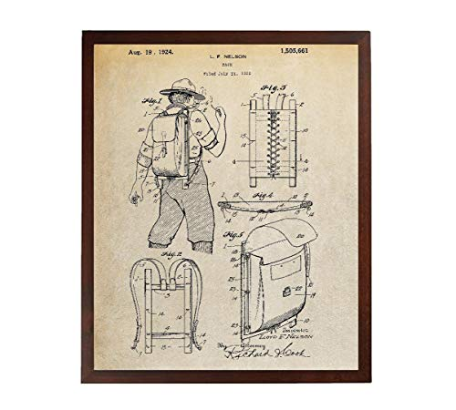 Turnip Designs Backpack 1924 Patent Poster Boy Scout Backpack Outdoorsman Hiking Art Mountain Home Decor Outdoorsy Vintage TDP273 (Vintage Boy Scout Backpack)