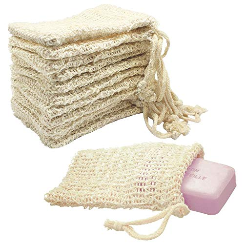 Ladovin 15pcs Natural Sisal Soap Bags Exfoliating Mesh Soap Saver Pouch,5.5