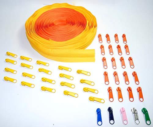 Nuburi - Zipper by The Yard - 10 Yards of Make Your Own Zipper - 45 Zipper Pulls (Orange & - Coil Yard 10