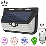 Solar Lights Outdoor, ADSION Motion Sensor Light 68 Super Bright LED Wall Lights with Remote Control, Waterproof Solar Lights Security Lights for Front Door, Patio, Deck, Yard, Garden (1 PACK)