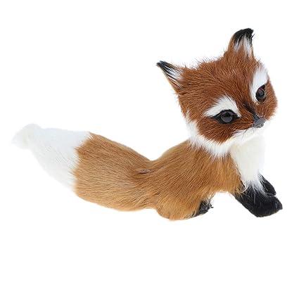 D DOLITY Juguete de Animales de Simulación Estatuilla de Zorro de Peluche Ornamento de Hogar Escritorio