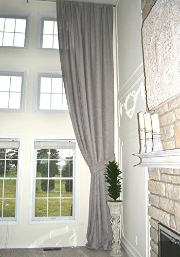 Ikiriska Extra Long Luxury Gray Linen Curtain Custom Made 16 17 18 20 24 feet, 2 Story Window Treatment Drape 9 ft Wide, Free Swatch, high Ceiling (18 ft) (Story Curtains Two)