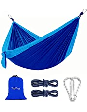 Camping Hammock, Portable Nylon Hammock with 2 Tree Ropes, Lightweight and 660-pound Large Capacity for Backpacking, Camping,Travel, Beach, Garden, Courtyard