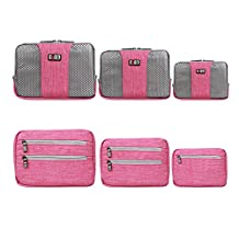 BUBM 3pcs/set Waterproof Universal Electronics Accessories Travel Organizer Carrying Case Camera Lens Charger Cable Organizer Triple Set(Large, Medium, Small) (Graypink)