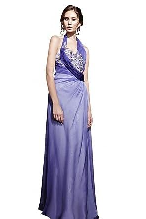 Kingmalls Womens Ombre Purple Halter Sexy Beads Prom Dress (XX-Large)