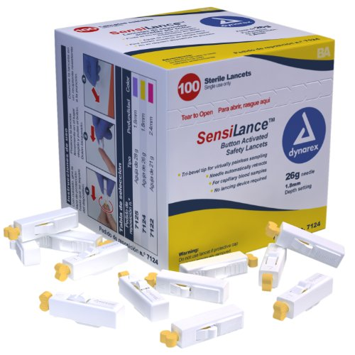 Dynarex Sensilance Safety Lancets, 26 Gauge, Sterile, 100 Co