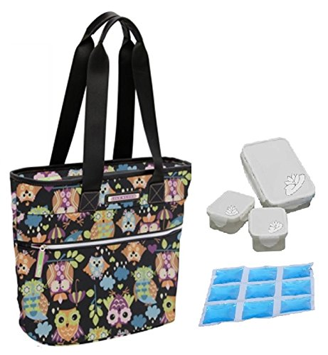 lily-bloom-oversize-insulated-lunch-cooler-tote-with-pack-n-go-containers-what-a-hoot-black